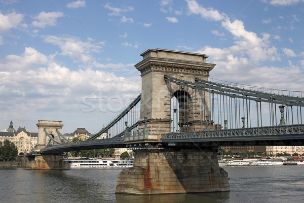 Chain bridge on Danube river Budapest Stock photo © goce