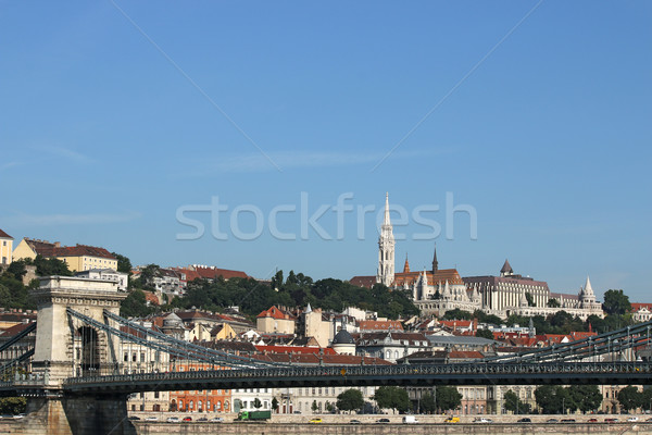 chain bridge and Fisherman bastion Budapest Stock photo © goce