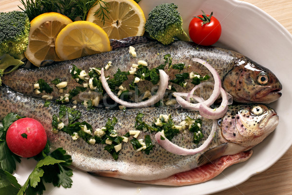 trout with vegetables and lemon Stock photo © goce
