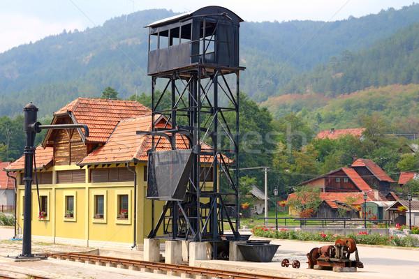 Velho estação de trem montanha outono arquitetura cair Foto stock © goce