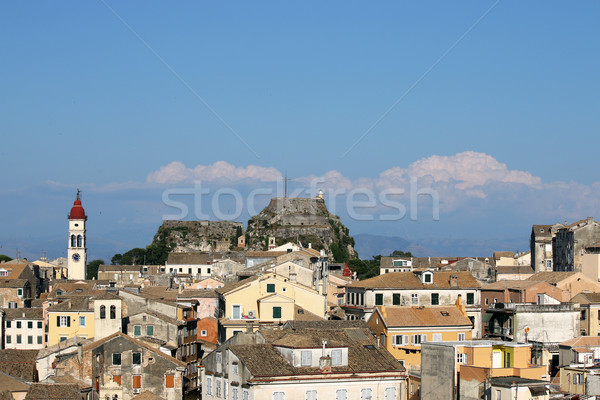 Corfu town cityscape old fortress and buildings Stock photo © goce