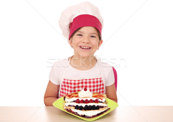 Heureux petite fille Cook fille sourire fruits Photo stock © goce