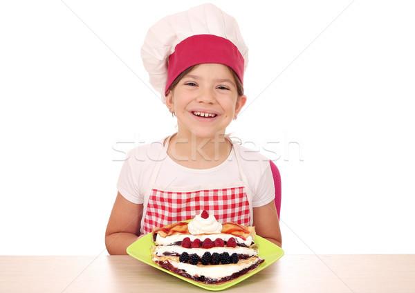 Boldog kislány szakács lány mosoly gyümölcs Stock fotó © goce