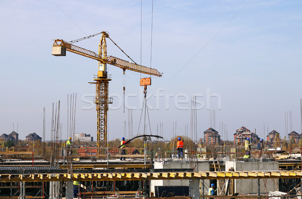 new building construction site with workers Stock photo © goce