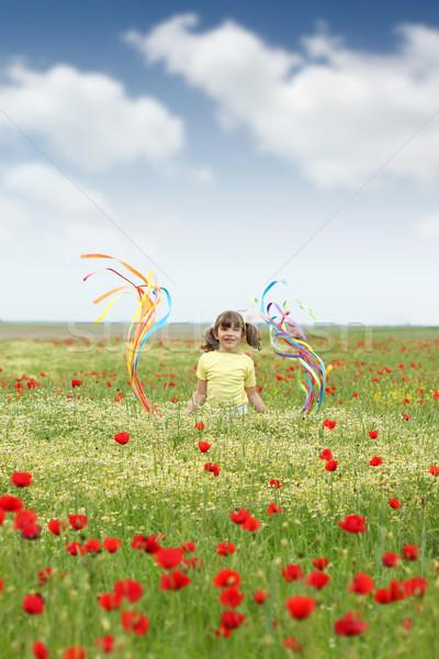 счастливым девочку Полевые цветы луговой небе цветы Сток-фото © goce