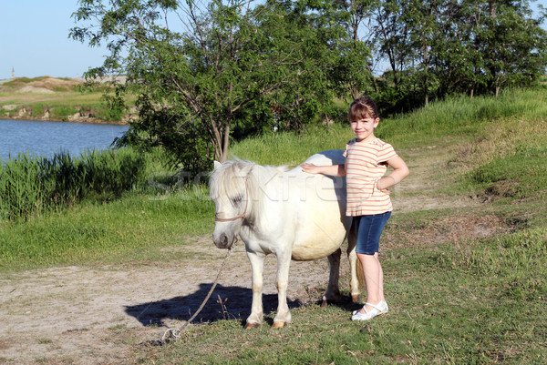 little girl with pony horse pet  Stock photo © goce