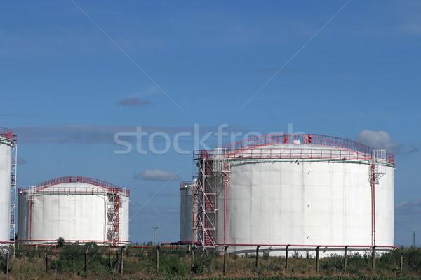 Raffinaderij veld olie-industrie hemel groene olie Stockfoto © goce