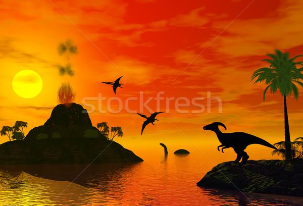 sunset of dinosaur world Stock photo © goce