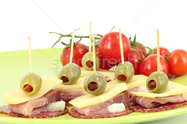 Jambon fromages olives tomates buffet alimentaire Photo stock © goce