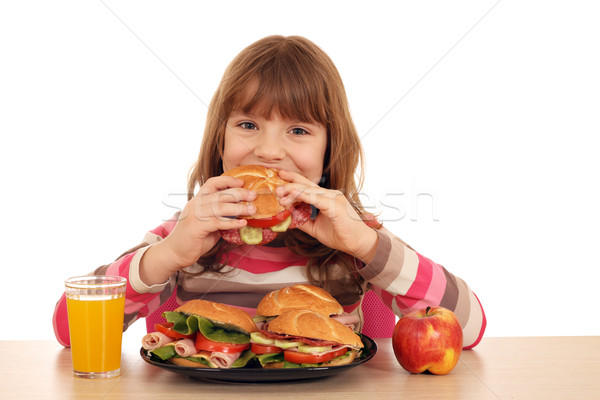 hungry little girl eat sandwich Stock photo © goce