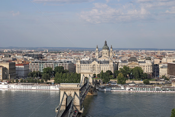 Budapest cityscape Chain bridge and Saint Stephen's Basilica Stock photo © goce