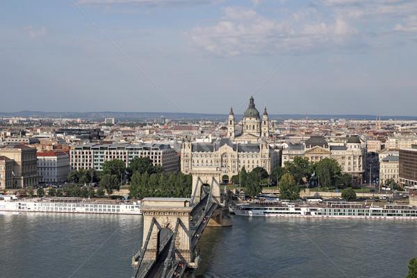 Budapest városkép lánc híd szent bazilika Stock fotó © goce
