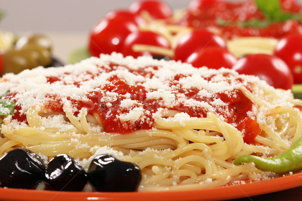 spaghetti with olives and sauce closeup Stock photo © goce