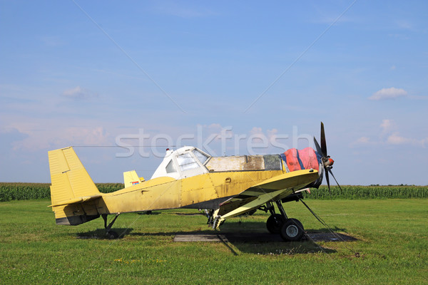 crop duster airplane on airfield Stock photo © goce