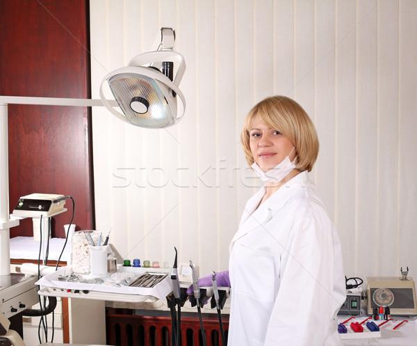 female dentist with equipment in dentist office Stock photo © goce