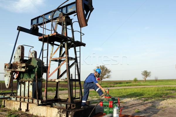 石油労働者 防毒マスク チェック パイプライン 業界 ワーカー ストックフォト © goce