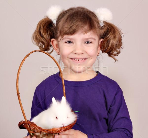 Hermosa nina blanco enano vacaciones mascota Foto stock © goce