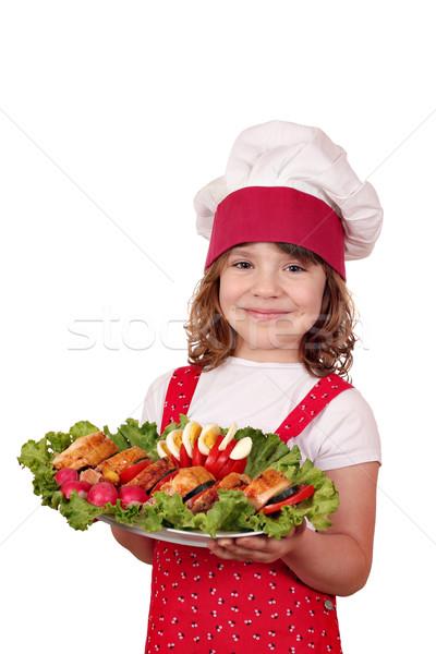Güzel küçük kız pişirmek gurme gıda çocuklar Stok fotoğraf © goce
