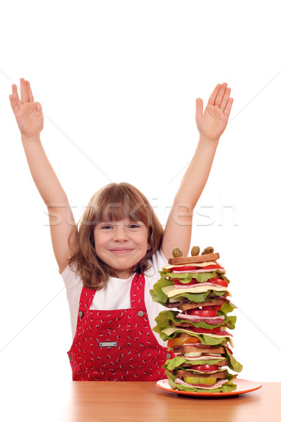 happy little girl with tall sandwich Stock photo © goce