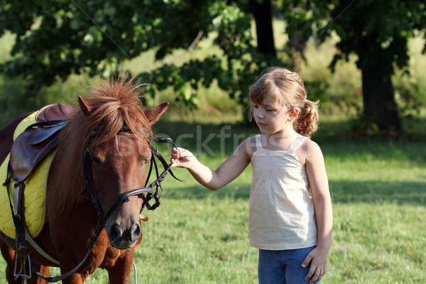 Stock photo: beautiful little girl and pony horse pet on field