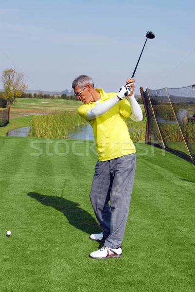 Jogador de golfe pronto homem verde azul jogar Foto stock © goce