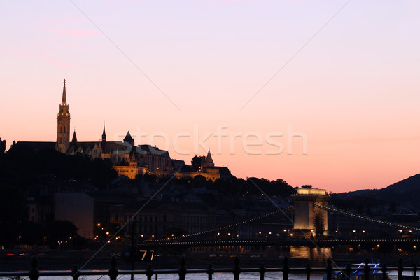 twilight over Fishermans Bastion and chain bridge Budapest Stock photo © goce