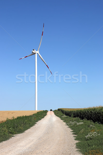 wind turbine on field with country road Stock photo © goce