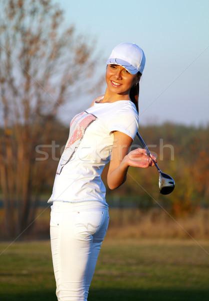 beautiful girl golf player posing Stock photo © goce