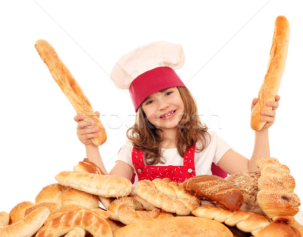 happy little girl bakery with breads  Stock photo © goce