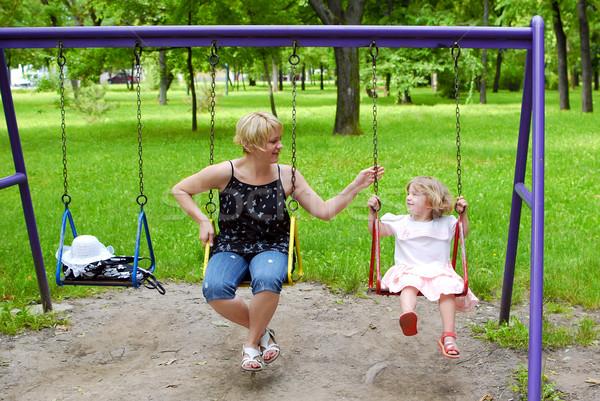 Anya lánygyermek játszótér család lány nők Stock fotó © goce