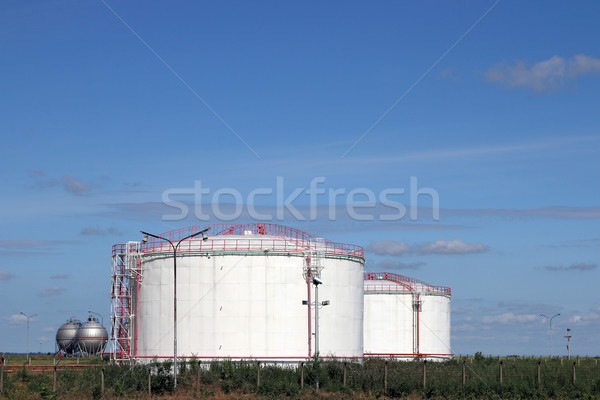 petrochemical plant oil tanks on field Stock photo © goce