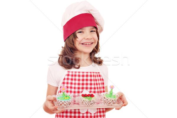 Foto stock: Feliz · little · girl · cozinhar · flor · da · primavera · menina