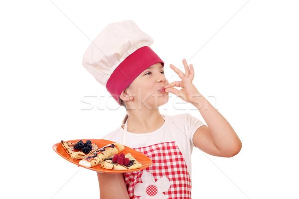Kislány szakács édes ok kézjel mosoly Stock fotó © goce