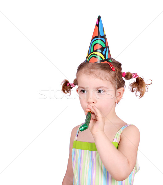 little girl with birthday hat and trumpet Stock photo © goce