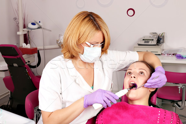 girl patient and dentist in dental office Stock photo © goce