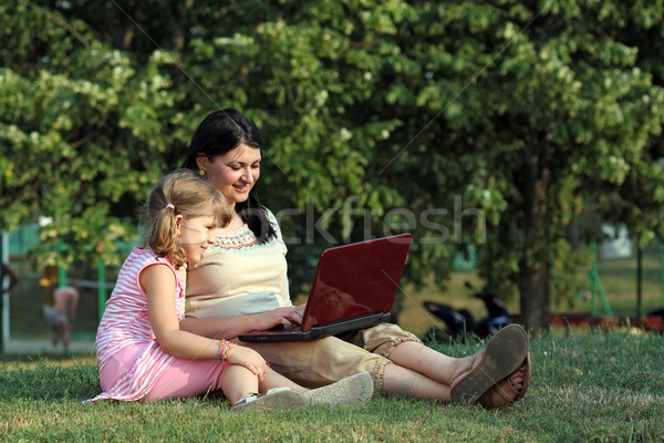 happy girl and child with laptop in park Stock photo © goce