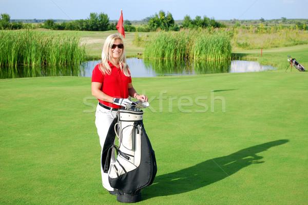 girl posing on golf field Stock photo © goce