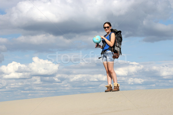 girl looking at a globe where they will travel Stock photo © goce