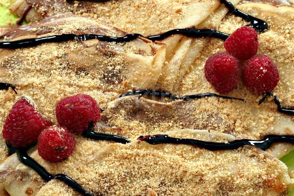 Framboesa chocolate creme comida fruto fundo Foto stock © goce