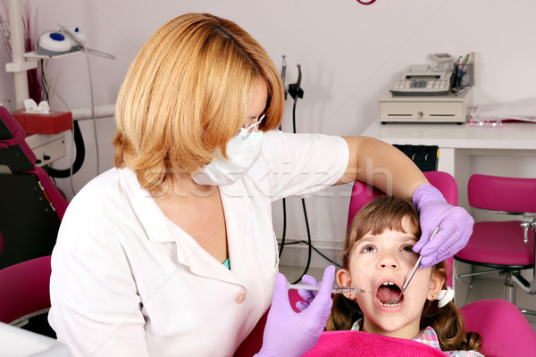 female dentist treats tooth little girl Stock photo © goce