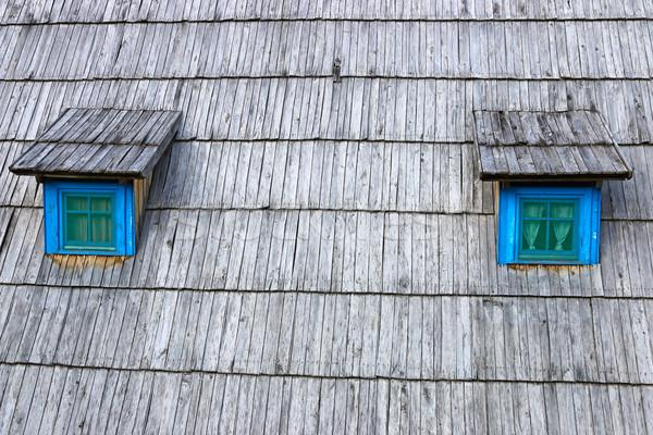 Hutte bois toit fenêtres détail maison Photo stock © goce