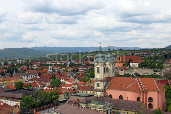 church and buildings cityscape Eger Hungary Stock photo © goce
