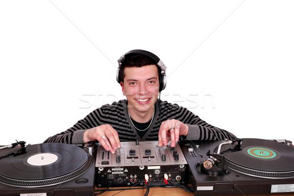 dj with turntables posing Stock photo © goce