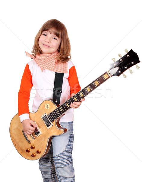 Boldog kislány játék elektromos gitár zene gitár Stock fotó © goce