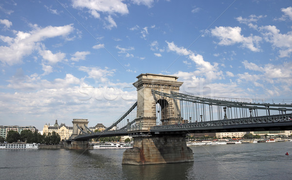 Chain bridge on Danube river Budapest Stock photo © goce