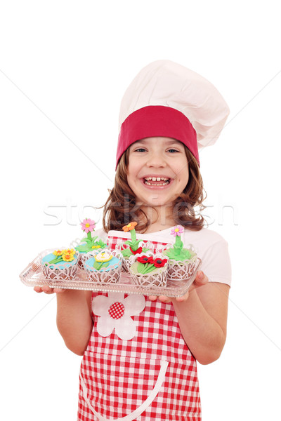 little girl cook with spring flower muffin Stock photo © goce