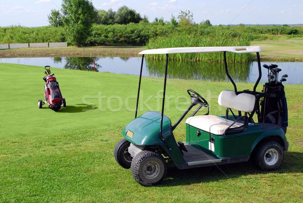 golf buggy and golf bag Stock photo © goce