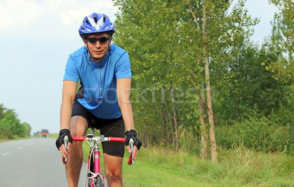 Erkek bisikletçi yarış bisiklet portre spor Stok fotoğraf © goce
