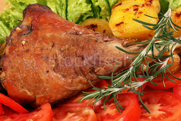 turkey drumstick with vegetables closeup Stock photo © goce