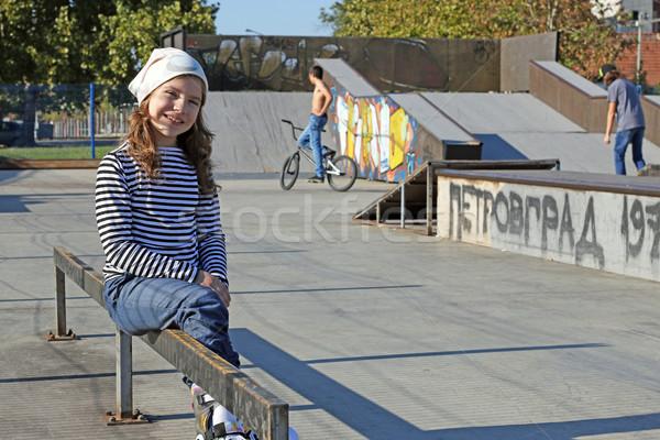 happy little girl in skate park Stock photo © goce